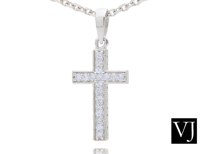 画像1: VJ  K18 ホワイトゴールド ダイヤモンド カジノロワイヤル クロス ペンダント ネックレス 18金