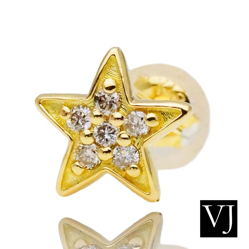 画像1: VJ 18K イエローゴールド メンズ ダイヤモンド スター フォーエバー ピアス 18金 スタッド デザイン ※1個販売(片耳)
