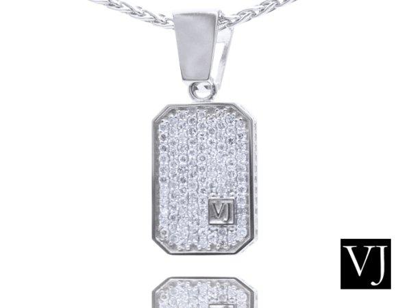 画像1: VJ  10K ホワイトゴールド クラッシュド ダイヤモンド ペンダントチェーンセット※チェーンをお選びいただけます。 (1)