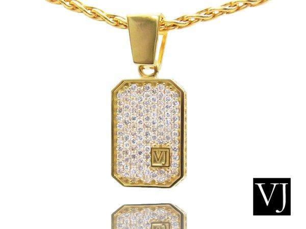画像1: VJ  10K イエローゴールド クラッシュド ダイヤモンド ペンダント 10金  (1)