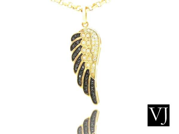 画像1: VJ 10Kイエローゴールド ダイヤモンド エンジェルウィング ペンダント 10金 フェザー (1)
