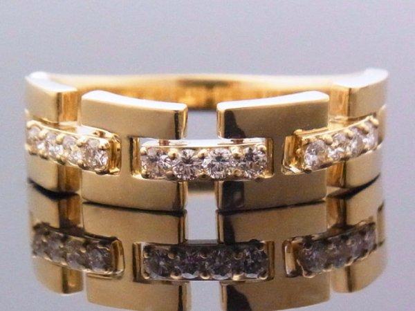 画像1: 18Kイエローゴールド ハーフリンク リング ダイヤモンド 0.25ct 18金 指輪【受注製作】ご注文後3週間前後でお届け。  (1)