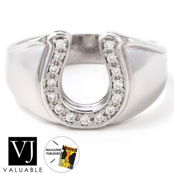 画像1: K18 ホワイトゴールド メンズ ダイヤモンド ホースシュー リング (1)