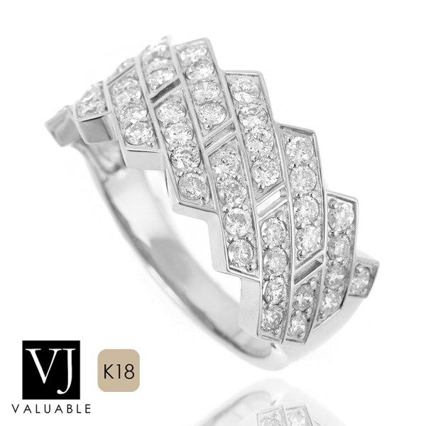 画像1: VJ【ブイジェイ】K18 ホワイトゴールド メンズ ダイヤモンド 1.10ct キング クラウン マイアミ リング PART2  (1)