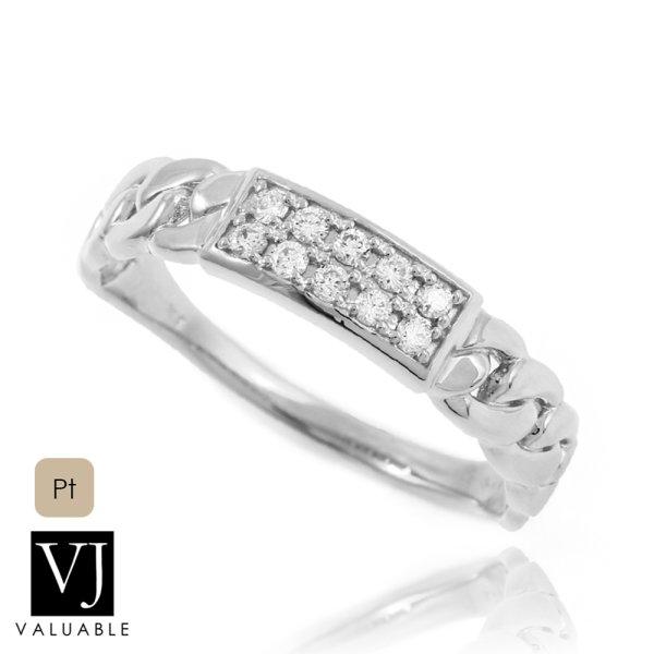 画像1: Pt900 プラチナ ダイヤモンド マイアミ キューバン プレート リング   (1)