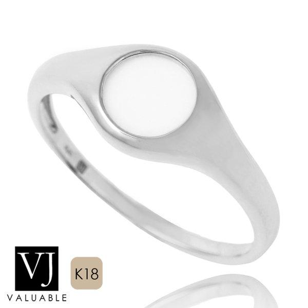 画像1: VJ【ブイジェイ】K18 ホワイトゴールド ホワイトアゲート ナンバー8 リング (1)