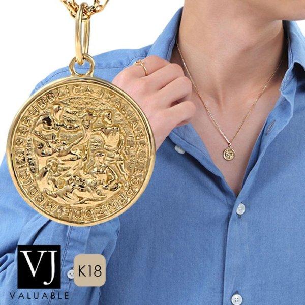 画像1:  K18 イエローゴールド 3 Gods lucky Greg ゴールド コイン ペンダント チェーンセット 18金 ネックレス 18K (1)