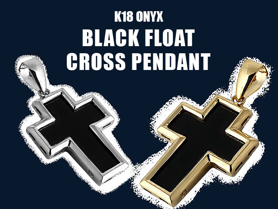 【VJ】K18 Onyx Black Float Cross Pendant