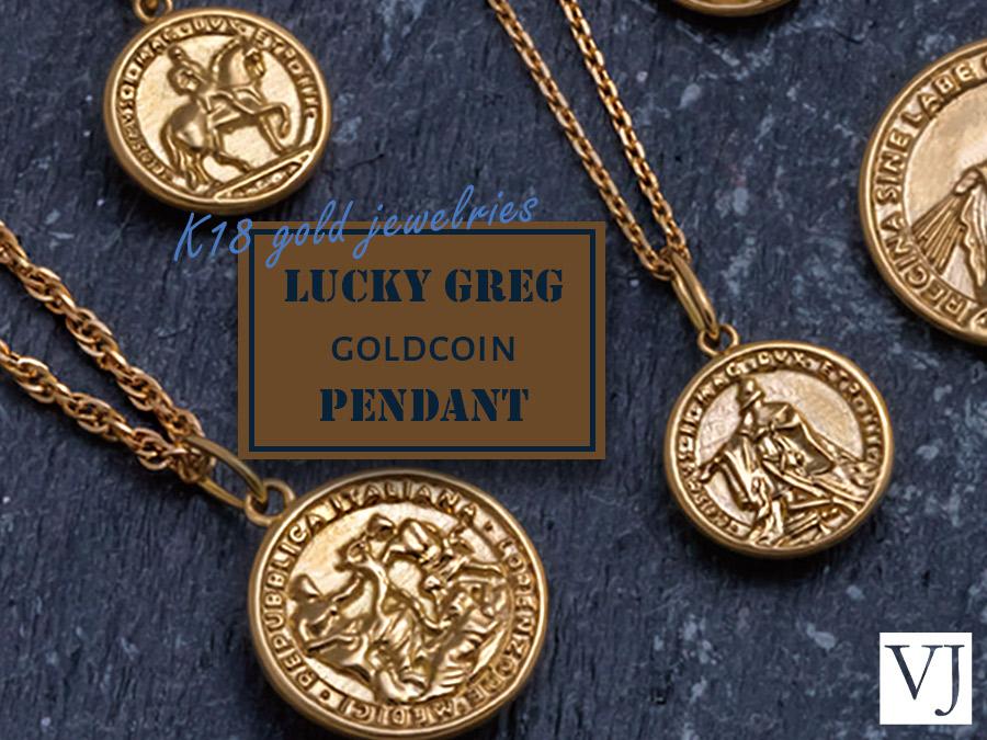 K18 Lucky Greg Gold Coin Pendant