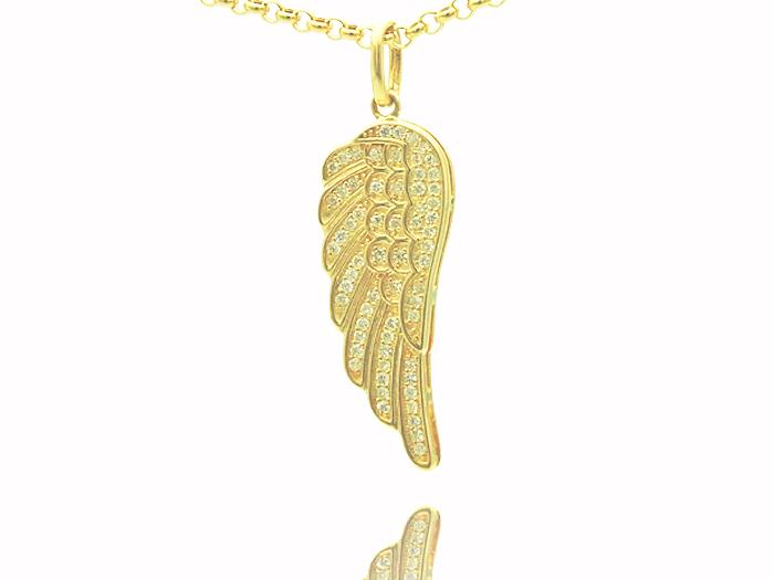 画像1: VJ 10Kイエローゴールド ダイヤモンド エンジェルウィング ペンダント18金チェーンセット