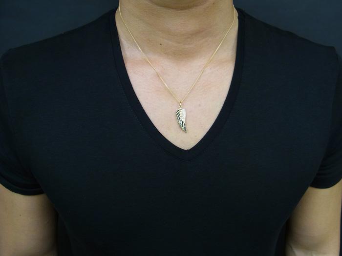 画像3: VJ 10Kイエローゴールド ダイヤモンド エンジェルウィング ペンダントフェザー18金チェーンセット 18k ネックレス