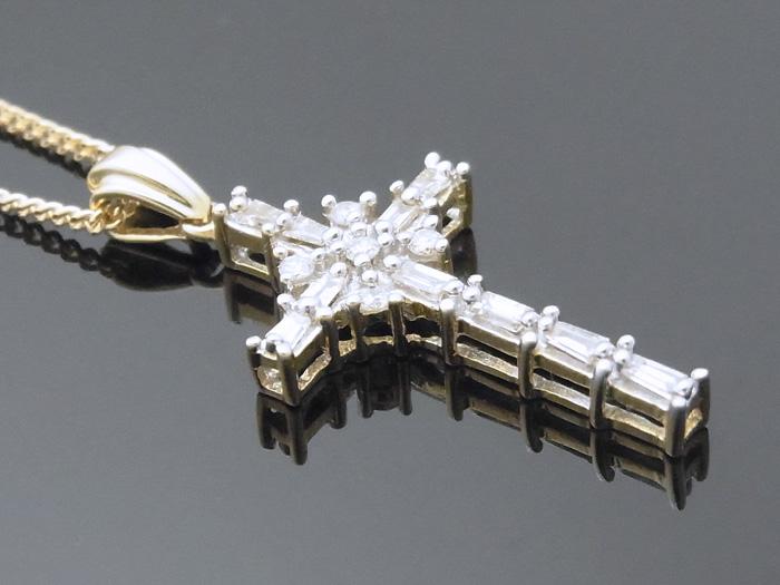 画像2: AQUAMASTERコレクション 14K イエローゴールド  ダイヤモンド0.31ct クロス ペンダント18kチェーンセット 18金 ネックレス