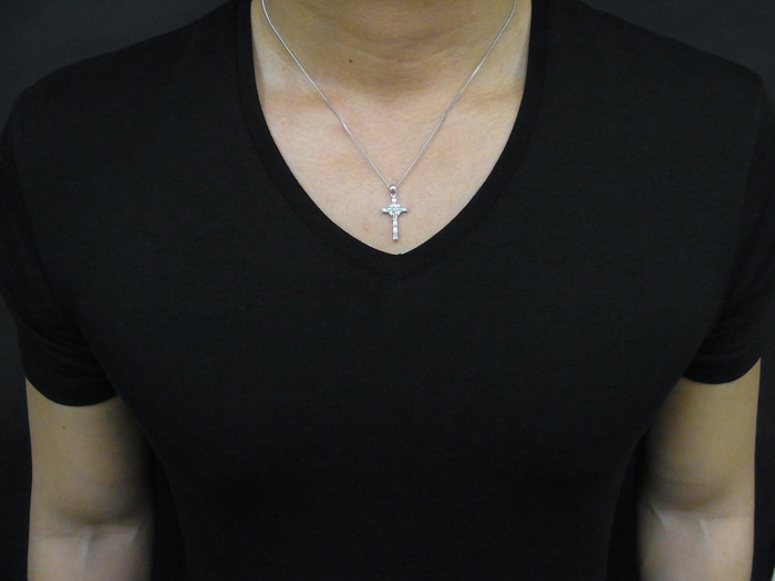 画像4: AQUAMASTERコレクション 14K ホワイトゴールド  ダイヤモンド0.31ct クロス ペンダント 14金
