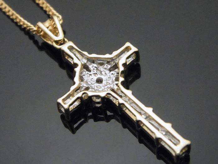 画像3: AQUAMASTERコレクション 14K イエローゴールド  ダイヤモンド0.31ct クロス ペンダント18kチェーンセット 18金 ネックレス