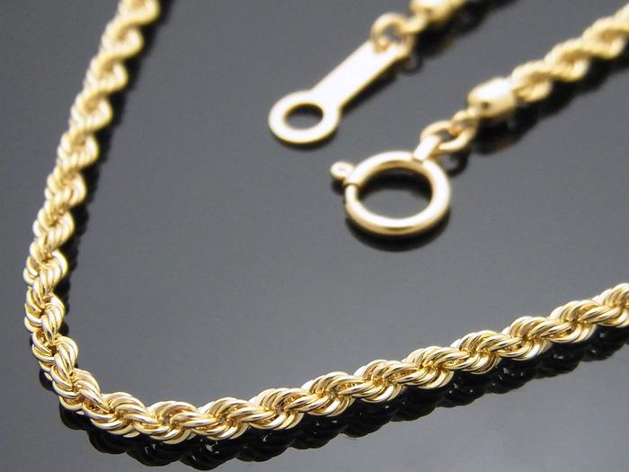 画像1: 18k イエローゴールド パイプ ロープチェーン 2mm幅 60cm 18金 ネックレス