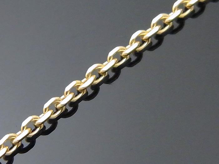 画像2: 18k イエローゴールド カット アズキ チェーン  1.9mm幅 50cm(アジャスター管で45cm使用可)  18金 ネックレス 小豆 あずき