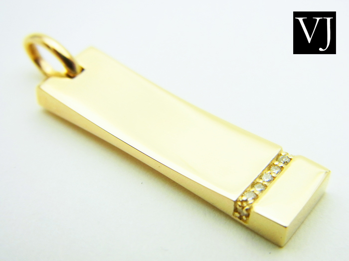 画像1: VJ 10KYG シューティングスター ダイヤモンドゴールドプレートペンダント