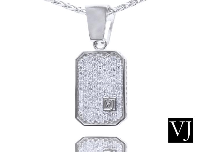画像1: VJ  10K ホワイトゴールド クラッシュド ダイヤモンド ペンダント 10金
