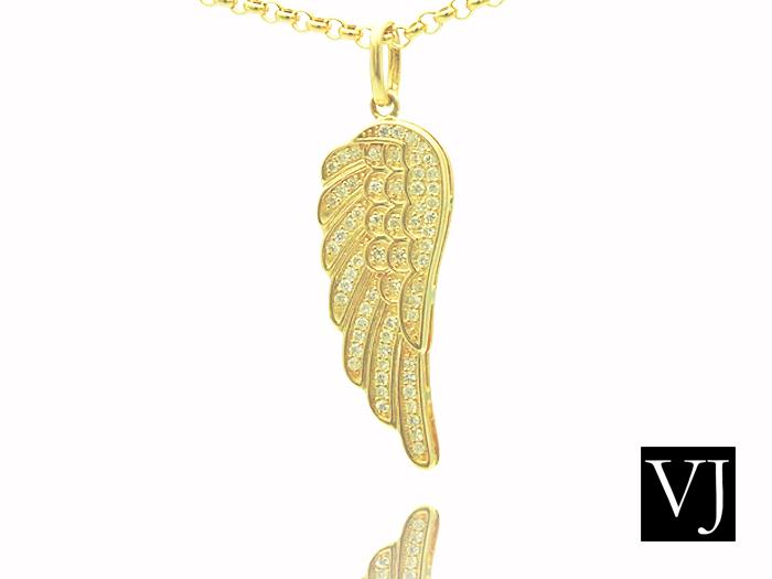 画像1: VJ 10Kイエローゴールド ダイヤモンド エンジェルウィング ペンダント 10金 フェザー