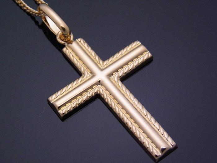 画像1: 18k イエローゴールド クロス ペンダントチェーンセット 18金 ネックレス※チェーン長さ40cm.45cm.50cmからお選び頂けます