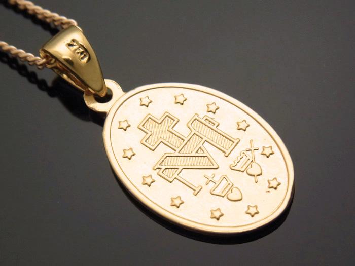 画像2: 18k イエローゴールド  マリア オーバル メダイ ペンダントチェーンセット 18金 ネックレス※長さ40cm.45cm.50cmからお選びできます。