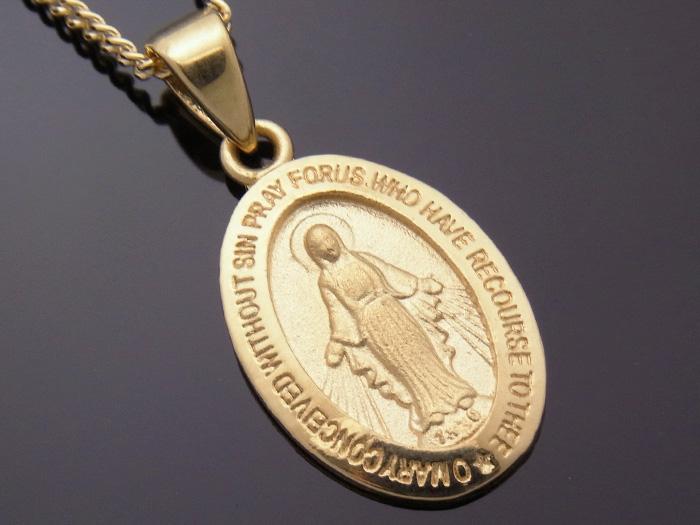 画像1: 18k イエローゴールド  マリア オーバル メダイ ペンダントチェーンセット 18金 ネックレス※長さ40cm.45cm.50cmからお選びできます。