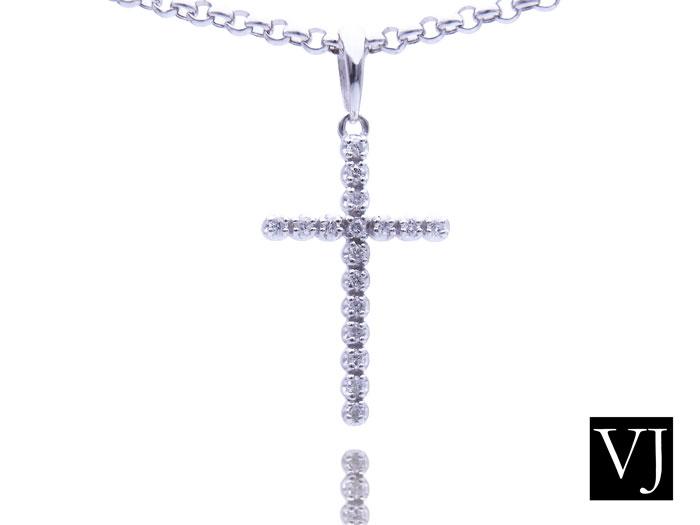 画像1: VJ  18K ホワイトゴールド ダイヤモンド クロス ペンダント ネックレス 18金