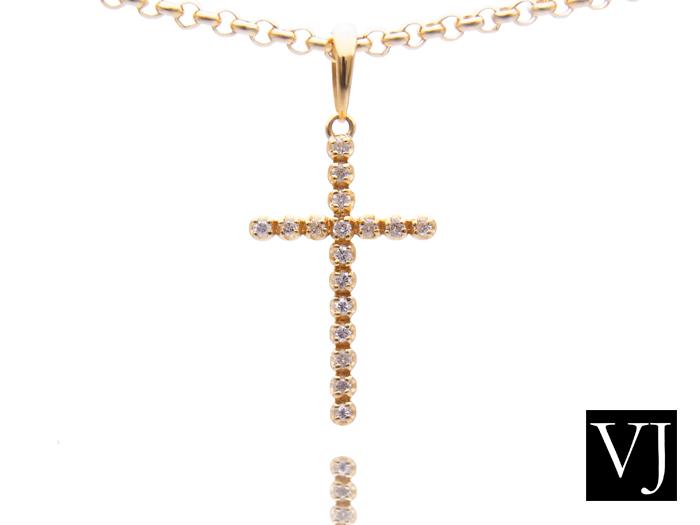 画像1: VJ  18K イエローゴールド ダイヤモンド クロス ペンダント ネックレス 18金