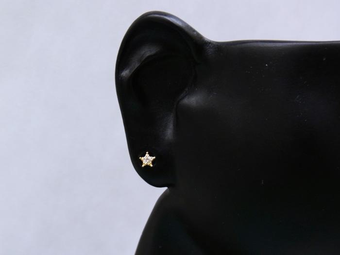 画像3: 18Kイエローゴールド ダイヤモンド0.04ct  スター スタッドピアス※1個販売となります