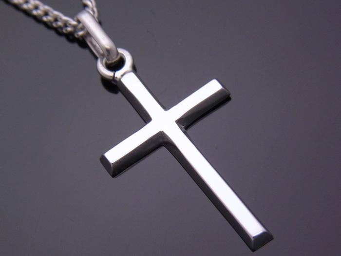 画像1: 18k ホワイトゴールド クロス ペンダントチェーンセット 18金 ネックレス※長さ40cm.45cm.50cmからお選びできます。