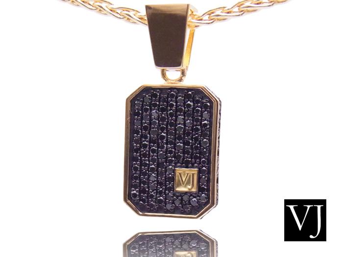 画像1: VJ  18K イエローゴールド クラッシュド ブラックダイヤモンド ペンダント 18金