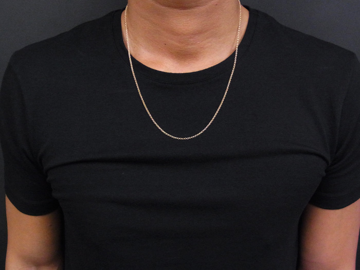 画像5: 18kイエローゴールド ロールチェーン(ハーフランドチェーン) 2mm幅 60cm  18金 ネックレス