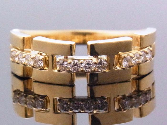 画像1: 18Kイエローゴールド ハーフリンク リング ダイヤモンド 0.25ct 18金 指輪【受注製作】ご注文後3週間前後でお届け。