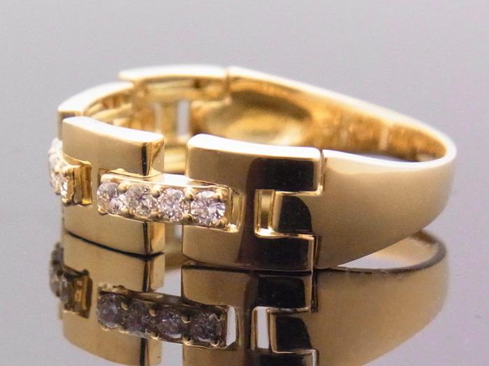 画像2: 18Kイエローゴールド ハーフリンク リング ダイヤモンド 0.25ct 18金 指輪【受注製作】ご注文後3週間前後でお届け。
