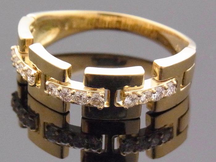 画像3: 18Kイエローゴールド ハーフリンク リング ダイヤモンド 0.25ct 18金 指輪【受注製作】ご注文後3週間前後でお届け。