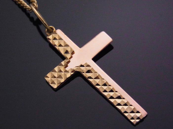 画像1: K18 イエローゴールド ピンクゴールド デザイン クロス ペンダント