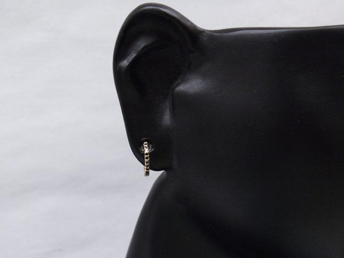 画像3: 18K イエローゴールド ブラックダイヤモンド0.05ct 中折れ フープ ピアス 18金 リング※1個販売(片耳)