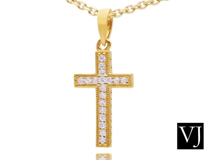 画像1: VJ  K18 イエローゴールド ダイヤモンド カジノロワイヤル クロス ペンダント ネックレス 18金
