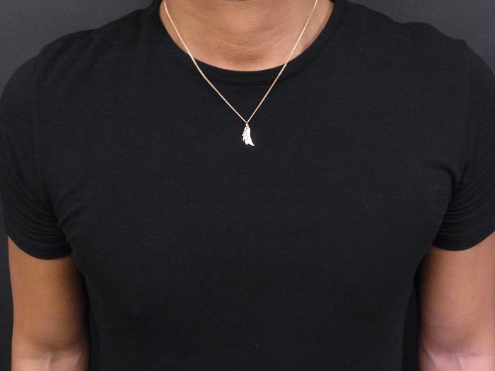 画像4: K18 イエローゴールド ダイヤモンド0.03ct フェザー ネックレスペンダントチェーンセット 18金 ネックレス※チェーン長さ40cm.45cm.50cmからお選び頂けます