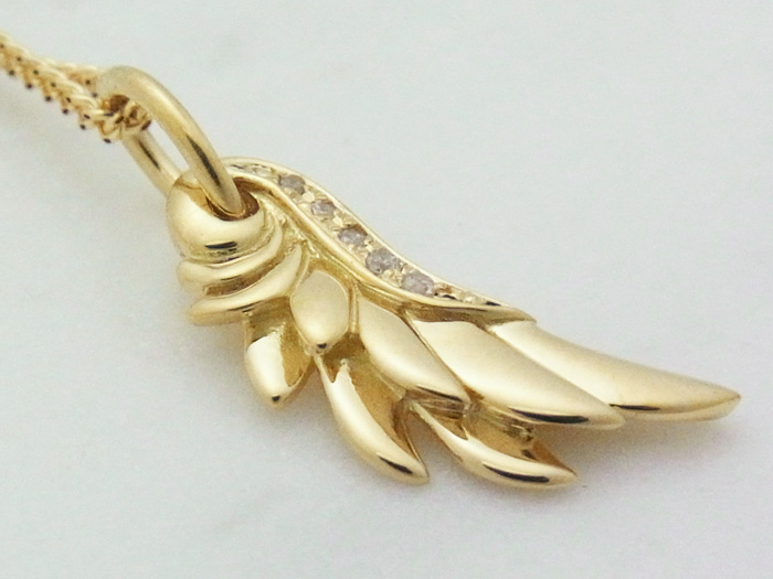 画像2: K18 イエローゴールド ダイヤモンド0.03ct フェザー ネックレスペンダントチェーンセット 18金 ネックレス※チェーン長さ40cm.45cm.50cmからお選び頂けます