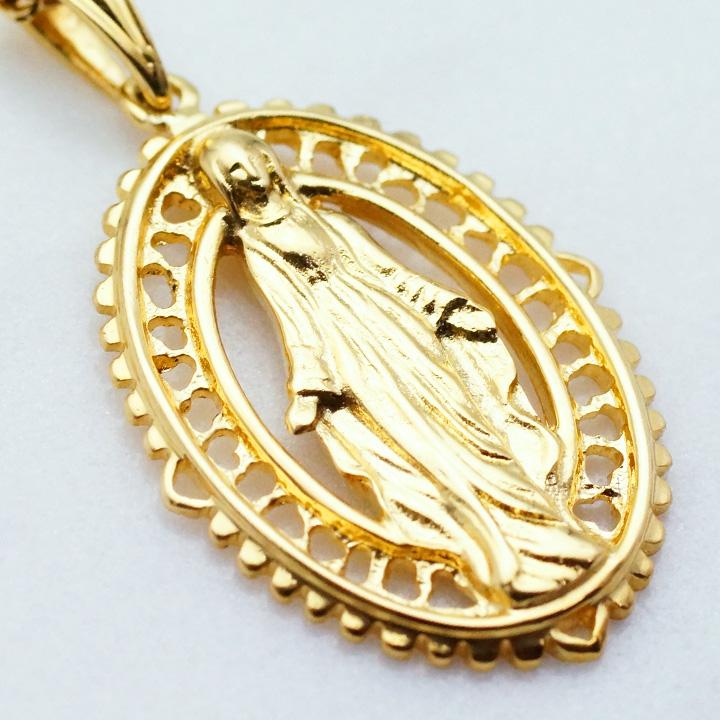 画像2: K18 イエローゴールド デザイン マリア オーバル メダイ ペンダント メダル 18k 18金 ネックレス