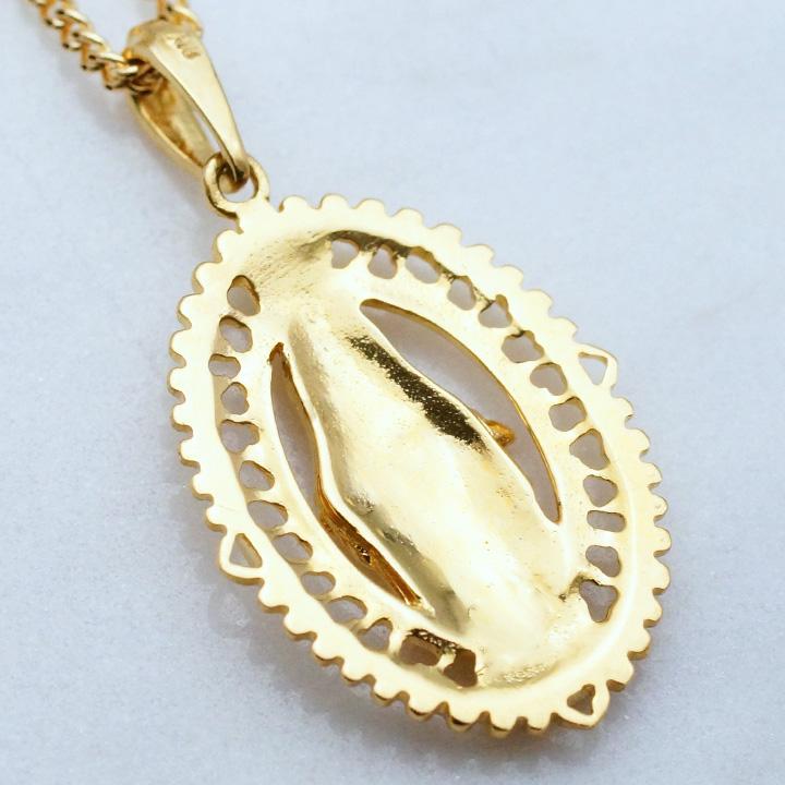 画像3: K18 イエローゴールド デザイン マリア オーバル メダイ ペンダント メダル 18k 18金 ネックレス