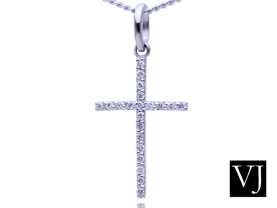画像1: VJ【ブイジェイ】 K18 ホワイトゴールド メンズ ロイヤルフラッシュ ダイヤモンド クロス ペンダント