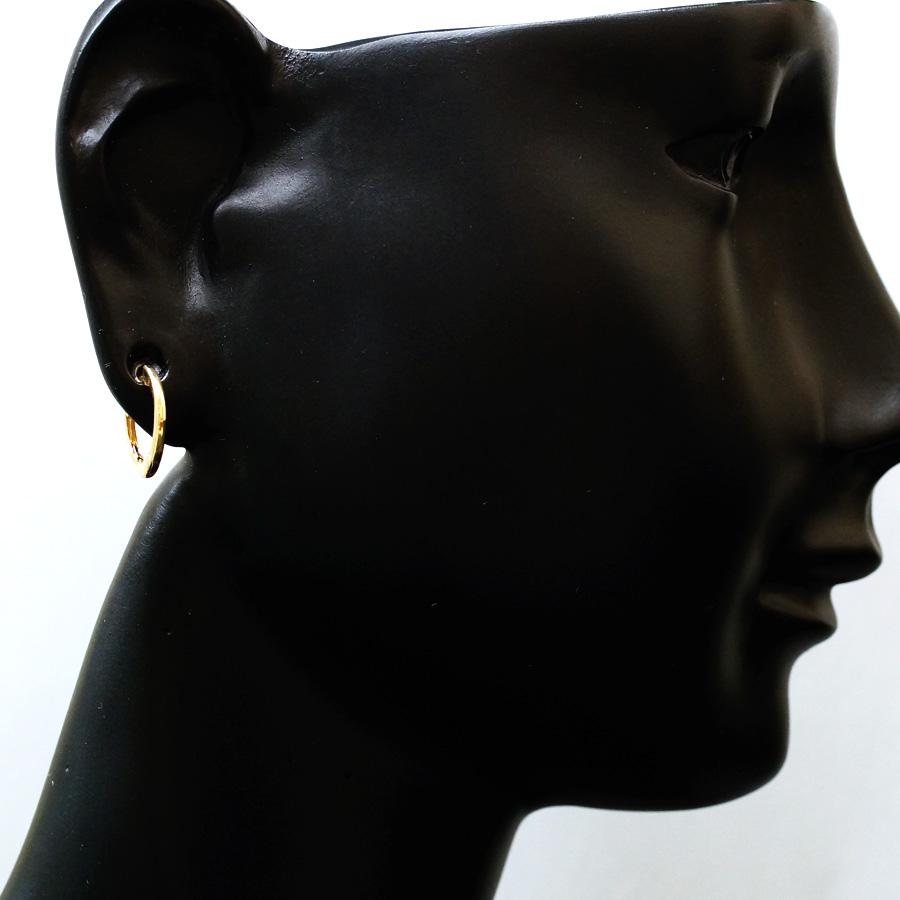 画像3: K18 イエローゴールド メンズ スプリングロック 中折れ フープ ピアス※1個販売(片耳)