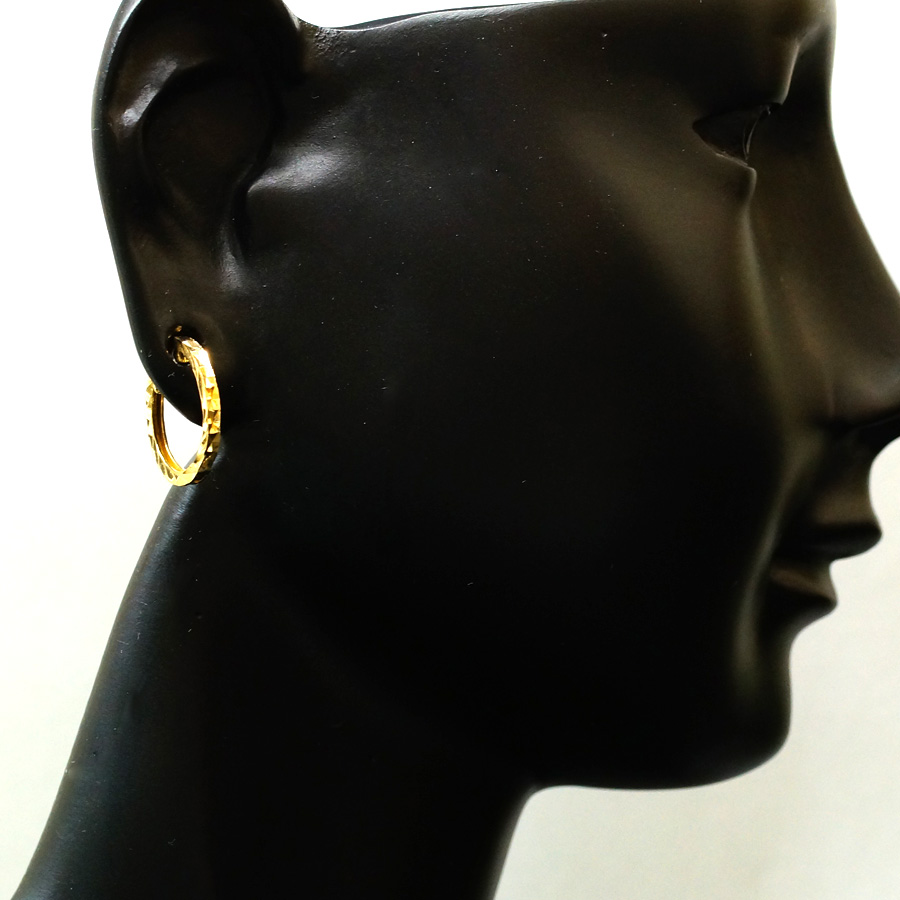 画像4: K18 イエローゴールド メンズ ダイヤモンドカット スクエア 中折れ フープ ピアス※1個販売(片耳)