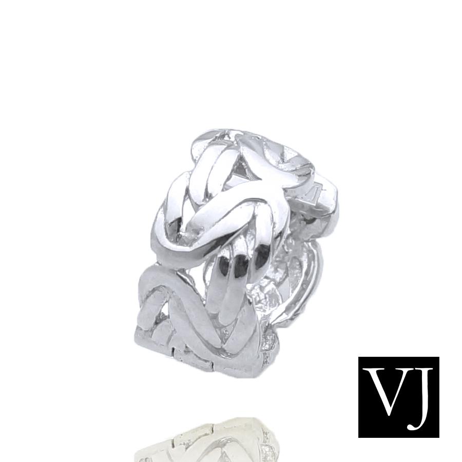 画像1: VJ【ブイジェイ】 K18 ホワイトゴールド メンズ ビザンチン 中折れ フープ ピアス※1個販売(片耳)