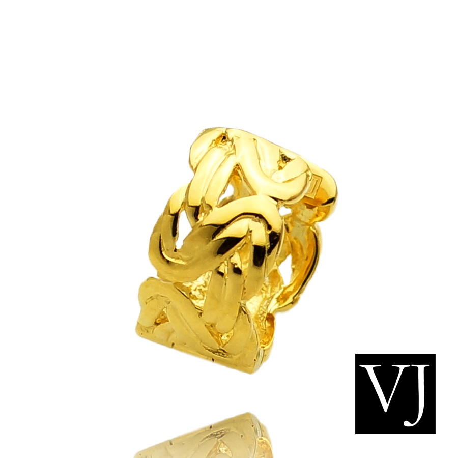 画像1: VJ【ブイジェイ】 K18 イエローゴールド メンズ ビザンチン 中折れ フープ ピアス※1個販売(片耳)