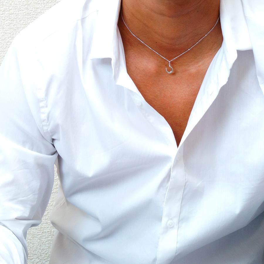 画像4: K18 ホワイトゴールド メンズ ホースシュー ペンダントチェーンセット 18金 ネックレス※チェーン長さ40cm.45cm.50cmからお選び頂けます