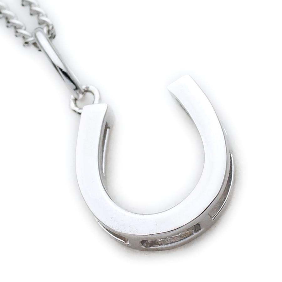 画像1: K18 ホワイトゴールド メンズ ホースシュー ペンダントチェーンセット 18金 ネックレス※チェーン長さ40cm.45cm.50cmからお選び頂けます