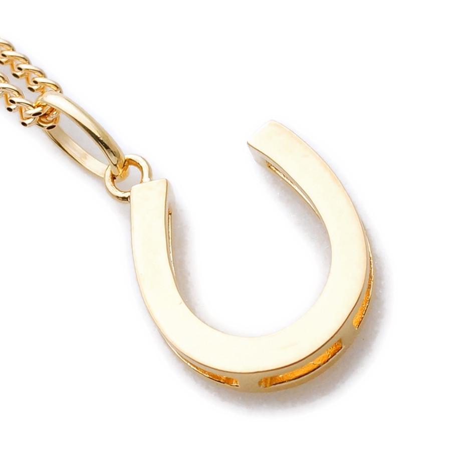 画像1: K18 イエローゴールド メンズ ホースシュー ペンダントチェーンセット 18金 ネックレス※チェーン長さ40cm.45cm.50cmからお選び頂けます